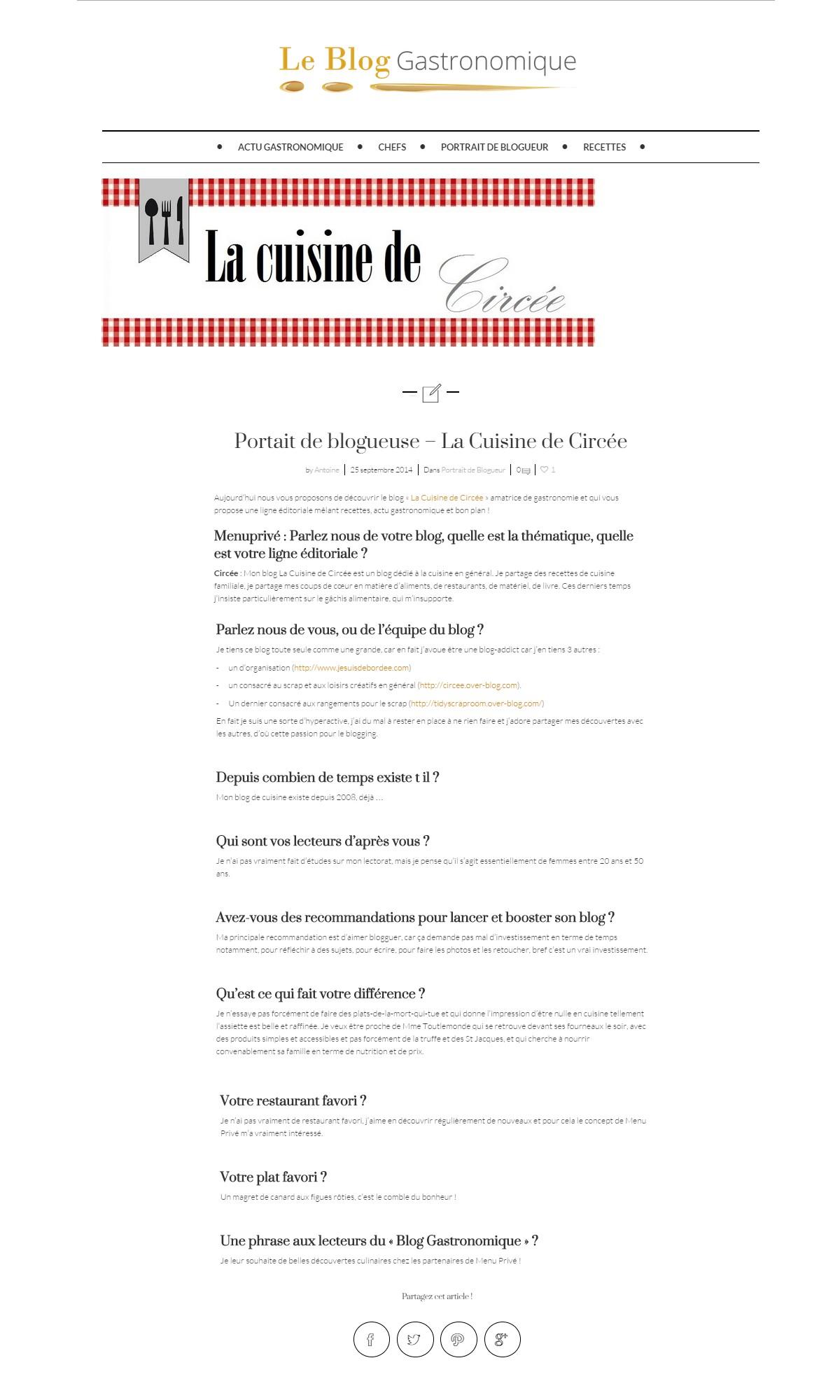 On parle du blog sur le blog gastronomique de menu priv - Blog cuisine gastronomique ...